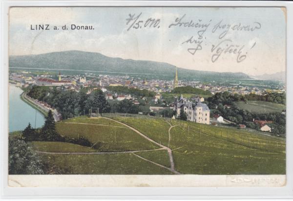 AK Linz, Panorama mit Donau 1910 - <span itemprop=availableAtOrFrom>Karnabrunn, Österreich</span> - Rücknahmen akzeptiert - Karnabrunn, Österreich