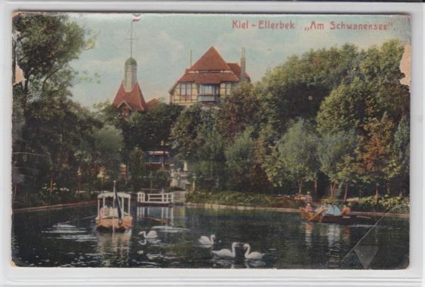 AK Kiel, Ellerbeck, Schwanensee, 1910 - <span itemprop=availableAtOrFrom>Karnabrunn, Österreich</span> - Rücknahmen akzeptiert - Karnabrunn, Österreich