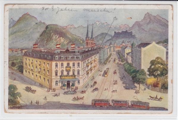 AK Salzburg, Hotel Pitter, Künstler-AK 1921 - <span itemprop=availableAtOrFrom>Karnabrunn, Österreich</span> - Rücknahmen akzeptiert - Karnabrunn, Österreich