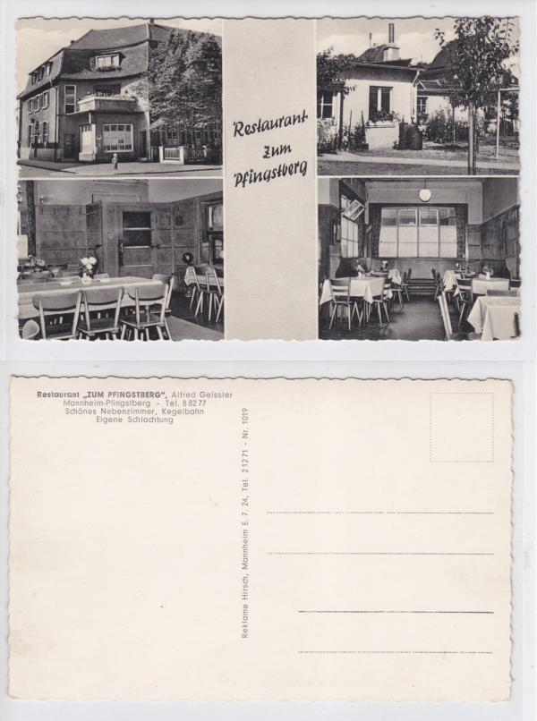 ak mannheim restaurant zum pfingstberg 1955 ebay. Black Bedroom Furniture Sets. Home Design Ideas