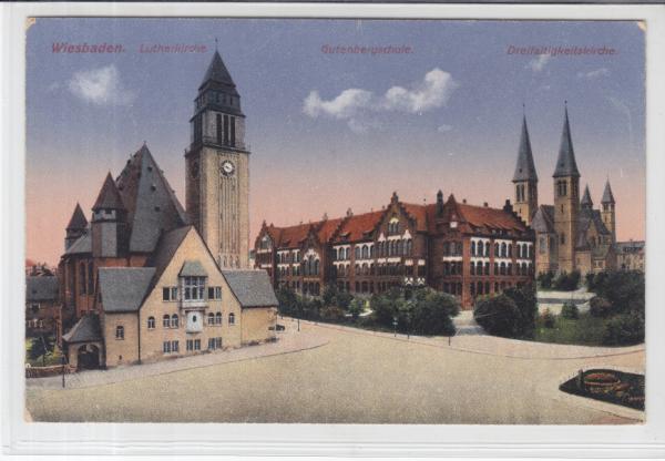 AK Wiesbaden, Lutherkirche, Gutenbergschule, 1919 - Karnabrunn, Österreich - Rücknahmen akzeptiert - Karnabrunn, Österreich
