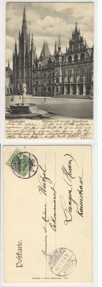 ak wiesbaden rathaus und evangel hauptkirche 1904 ebay. Black Bedroom Furniture Sets. Home Design Ideas